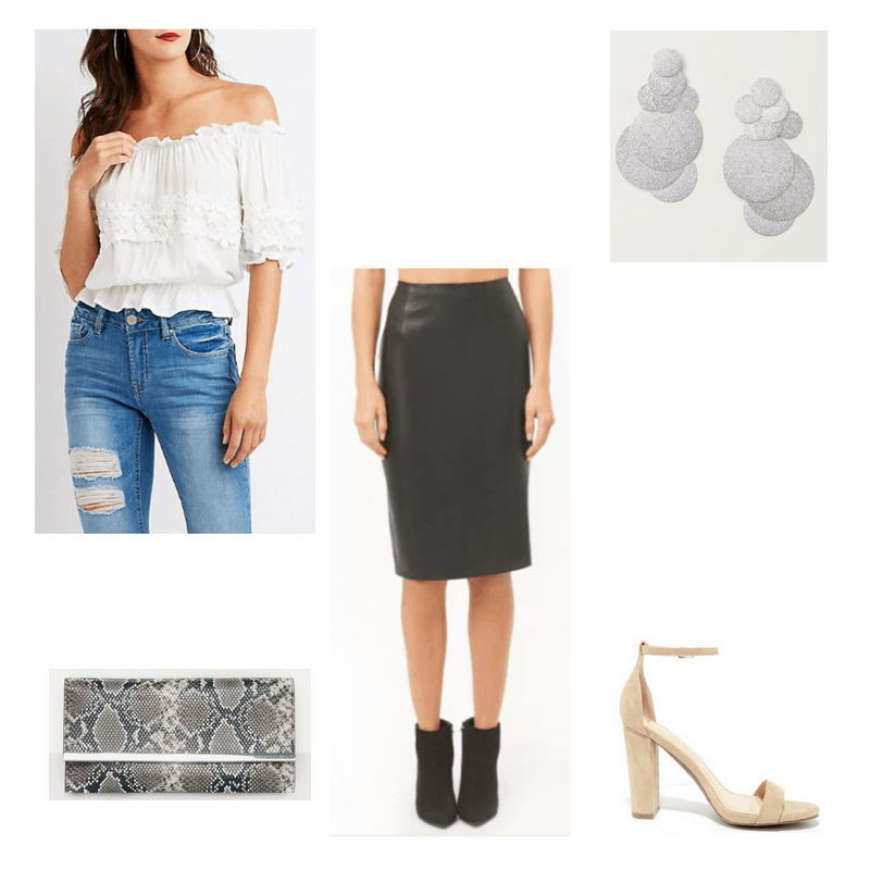 Outfit with white off-the-shoulder top, leather pencil skirt, nude heels, silver earrings, and snakeskin clutch