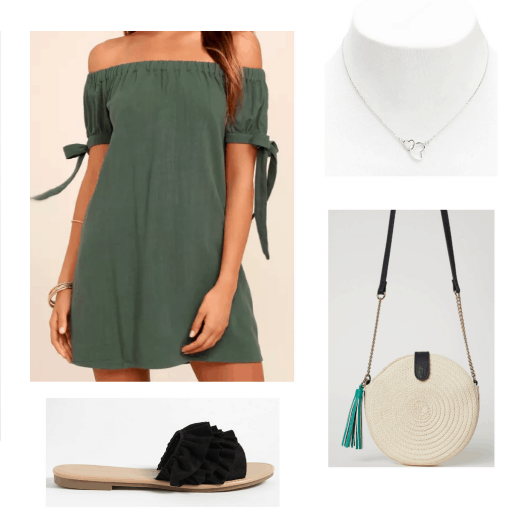 olive off shoulder dress, silver necklace, straw bag, black ruffled slides