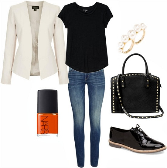 Off white blazer, black tee, jeans and oxfords look