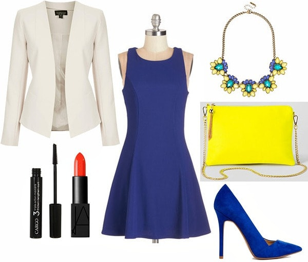 Off white blazer, cobalt dress and pumps, statement necklace outfit