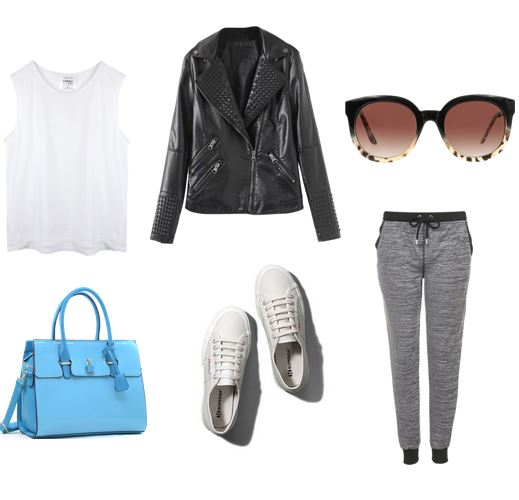 white sneakers, joggers, leather jacket