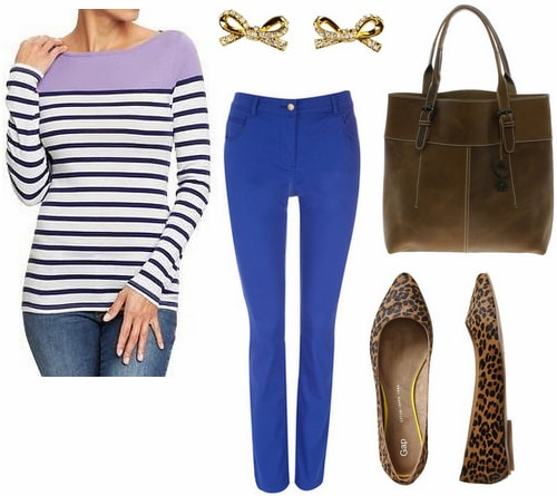 Old Navy colorblock striped tee, cobalt jeans, leopard flats