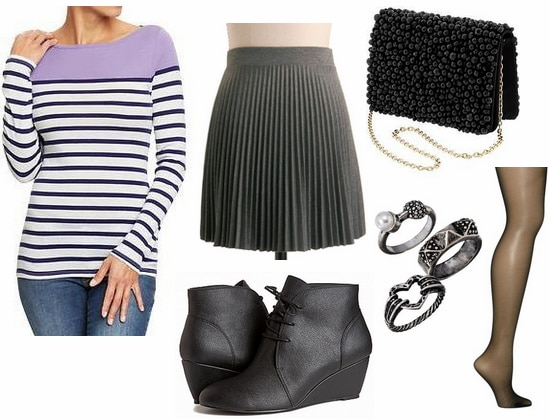 Old Navy colorblock striped tee, gray pleated skirt, ankle boots