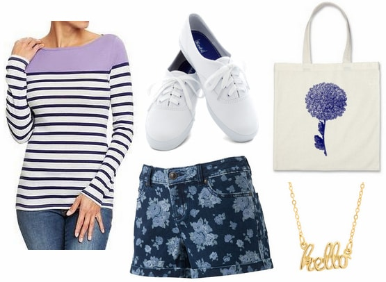 Old Navy colorblock striped tee, floral shorts, sneakers