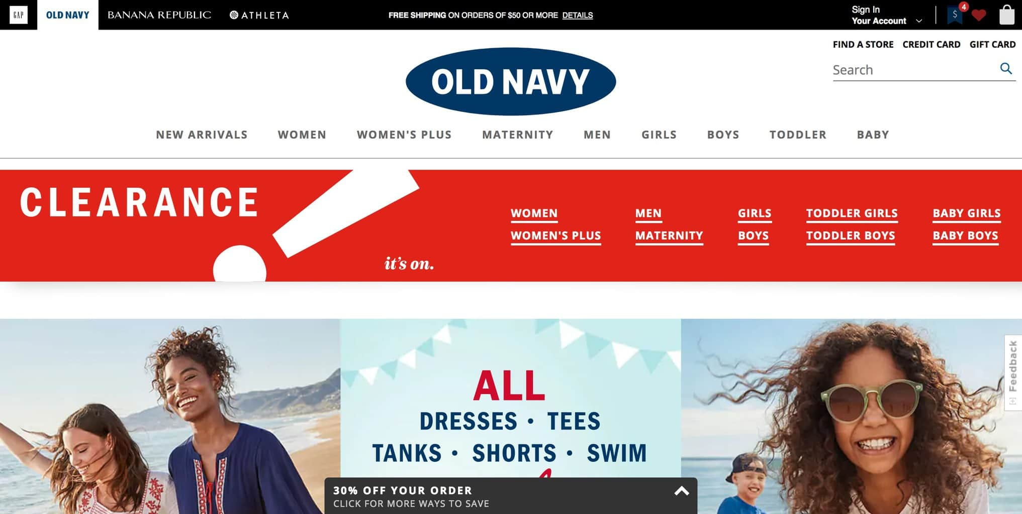Best cheap shopping sites and clothing websites on a budget: Old Navy has amazing affordable clothing for women and men