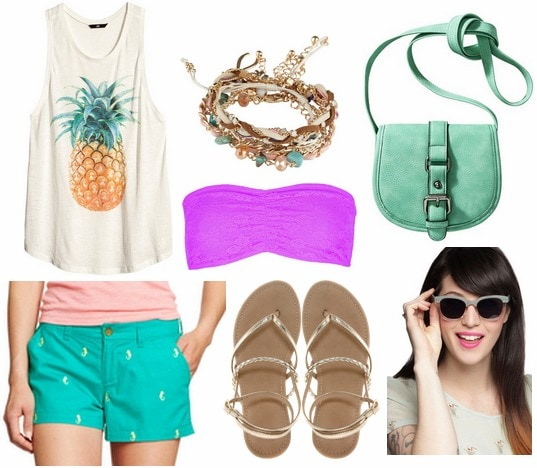 Old navy shorts, graphic tank, sandals