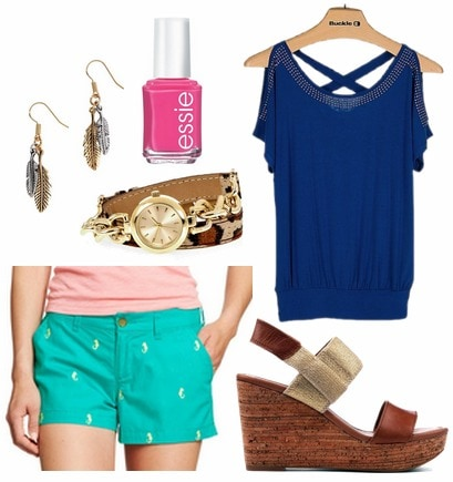 Old navy shorts, navy blue top, wedges