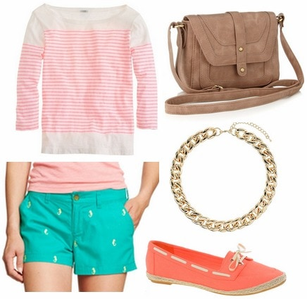 Old navy shorts, striped top, boat shoes