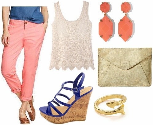 Old navy skinny khakis, lace top, wedges, metallic clutch, coral earrings