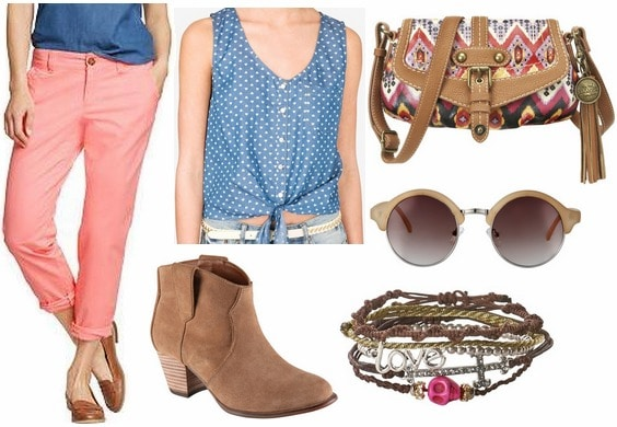 Old navy skinny khakis, printed blouse, round sunglasses, ankle boots
