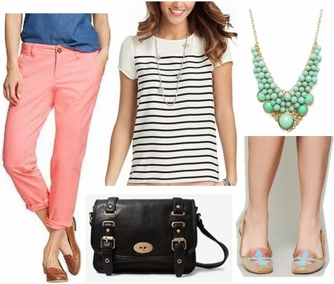 Old navy skinny khakis, striped tee, loafers, statement necklace