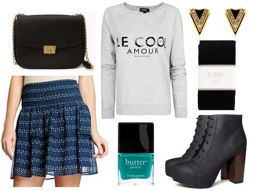 Old navy skirt, graphic sweatshirt, platform boots