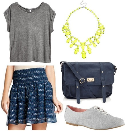 Old navy skirt, gray tee, oxfords