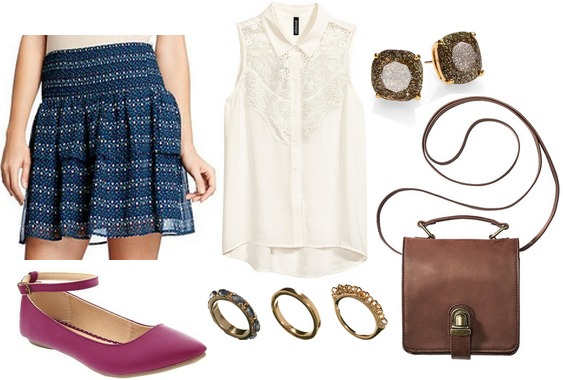 Old navy skirt, lace blouse, ballet flats