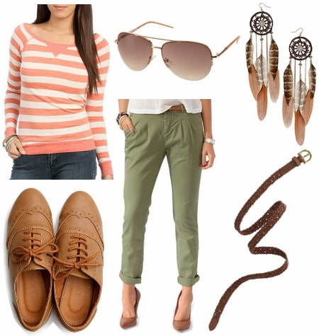 olive and coral outfit 3