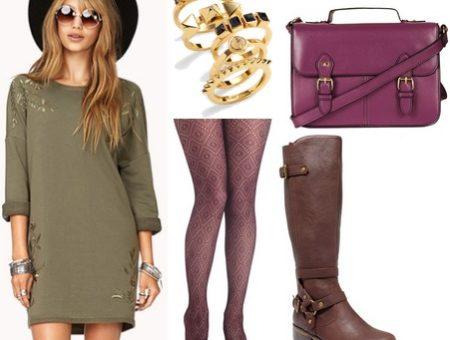 Olive dress, purple tights, purple satchel, riding boots
