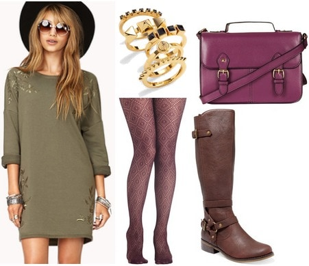 Olive dress, purple tights, purple satchel, riding boots