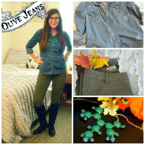 Olive jeans and denim shirt