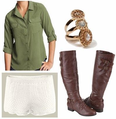 Olive shirt, crochet shorts, boots
