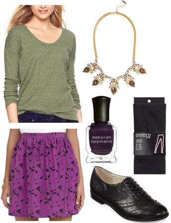 Olive top, purple skirt, oxfords