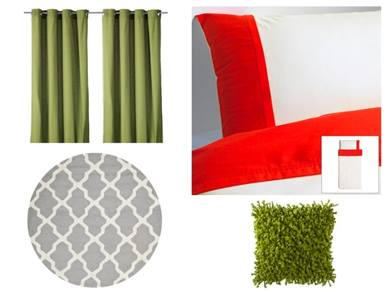 Olive Green, Red, and Silver home decor