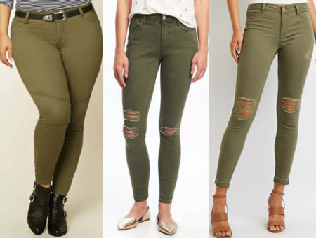 Olive colored denim jeans from Forever 21, Charlotte Russe, and Old Navy.