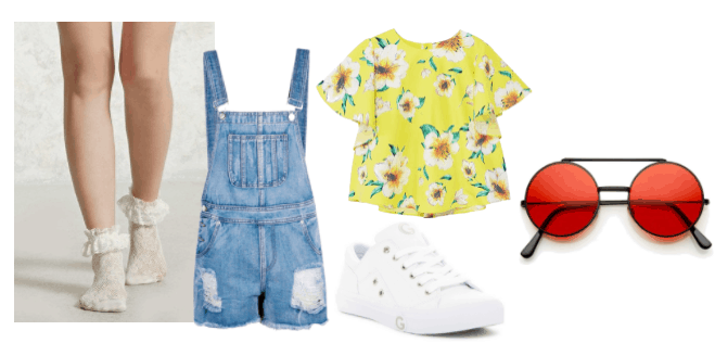Cute summer outfit idea inspired by Oliver from Ni No Kuni: Wrath of the White Witch: Overall shorts, yellow and white floral tee shirt, white sneakers, red round sunglasses, white ruffle socks