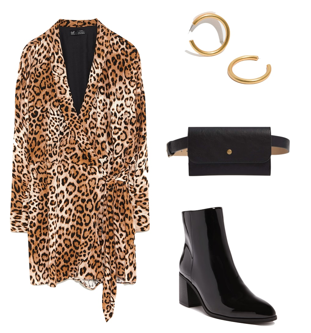 Olivia Culpo Outfit: leopard print jumpsuit dress, chunky gold hoop earrings, black belt bag, and patent black ankle boots