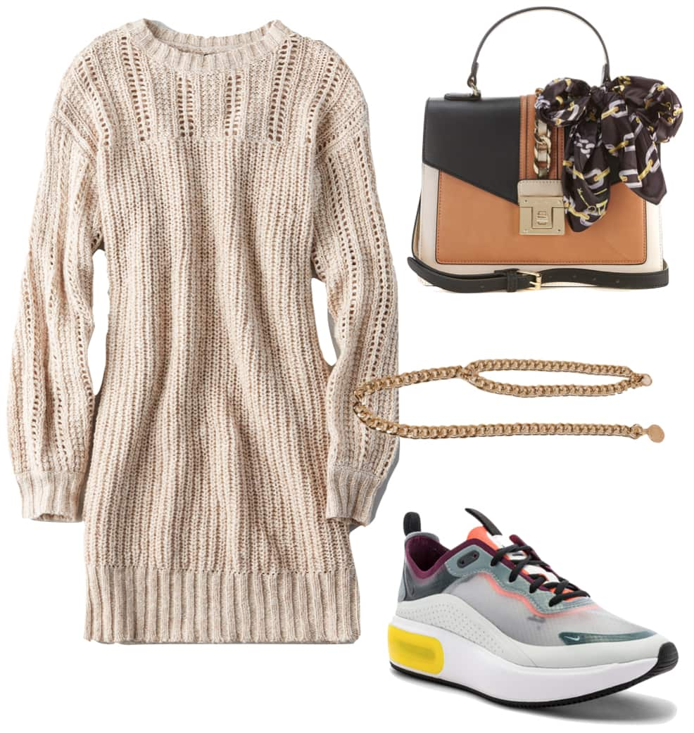 Olivia Jade Outfit: beige sweater dress, gold chain belt, chunky multicolor sneakers, and a color block top handle bag