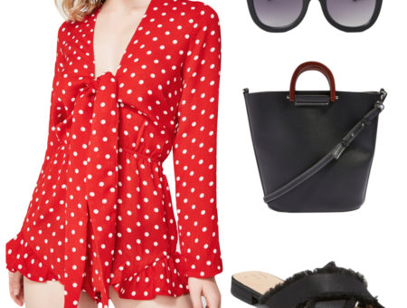 Olivia Munn Outfit: red and white polka dot tie-front romper, oversized black sunglasses, a black top-handle tote bag, and black satin frayed slide sandals