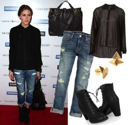 Outfit inspired by Olivia Palermo's boyfriend jeans and black shirt