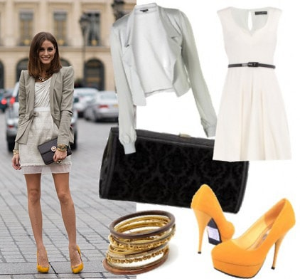 Outfit inspired by Olivia Palermo's gray blazer and orange shoes