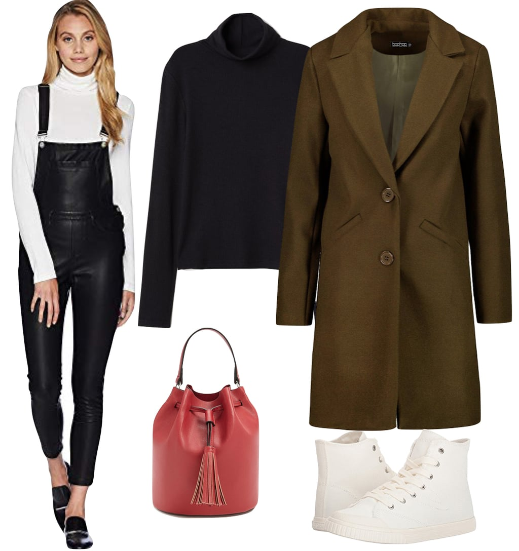 Olivia Palermo Outfit: black vegan leather overalls, black turtleneck top, olive green coat, red bucket bag, and white high-top sneakers