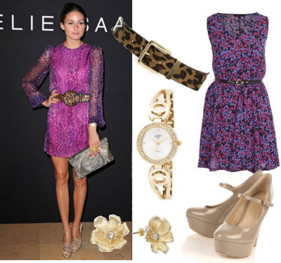 Outfit inspired by Olivia Palermo's purple dress and gray accessories