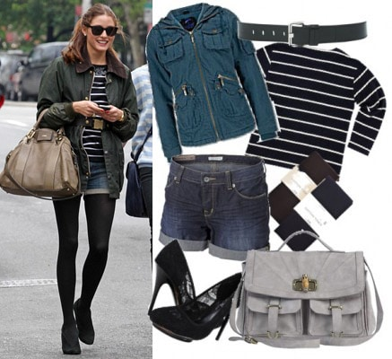 Outfit inspired by Olivia Palermo's striped shirt, denim shorts, and tights