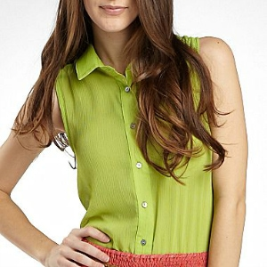 Olsenboye Sleeveless Boyfriend Shirt