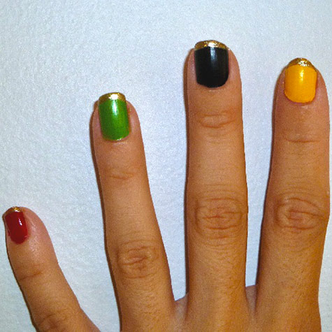 Olympic nail art: Gold tips