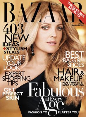 Drew Barrymore Harper's Bazaar Cover with Ombre Hair