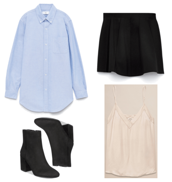 """""""Turn One Outfit Into Four: Luxe Mash-Up Edition"""" Outfit #2 featuring tunic-length long-sleeved blue button-up shirt, black block-heel ankle boots with round toe, black a-line mini skirt, pale pink silky camisole with subtle detail around v-neckline"""