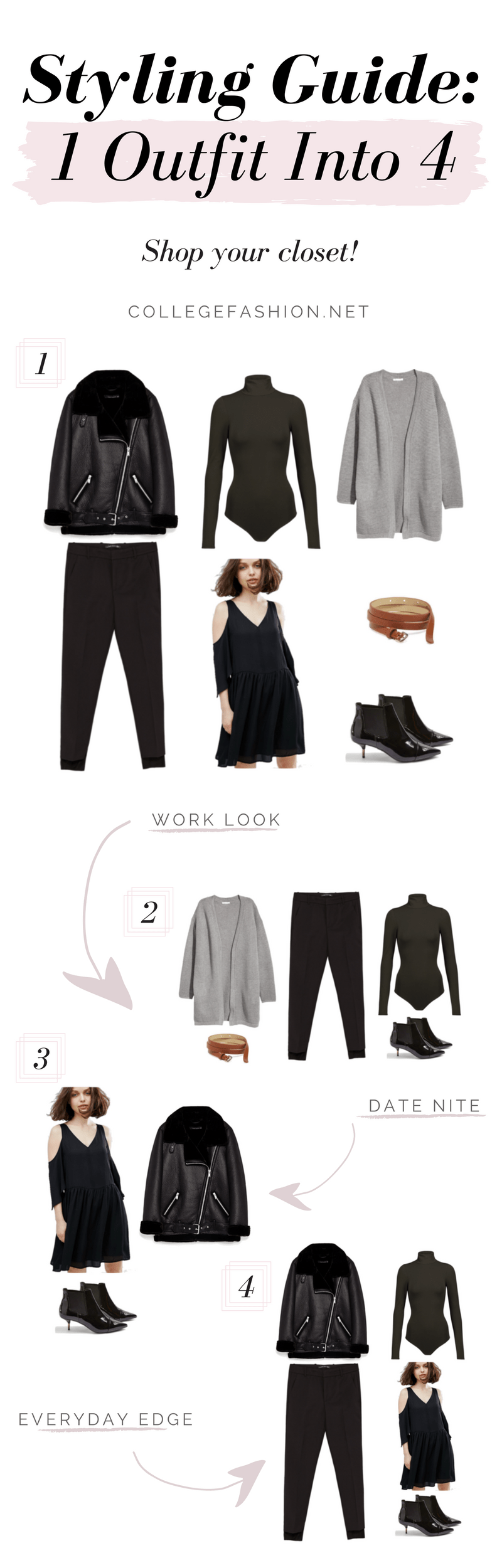 How to turn one outfit into four: Styling guide with four outfits using the same pieces