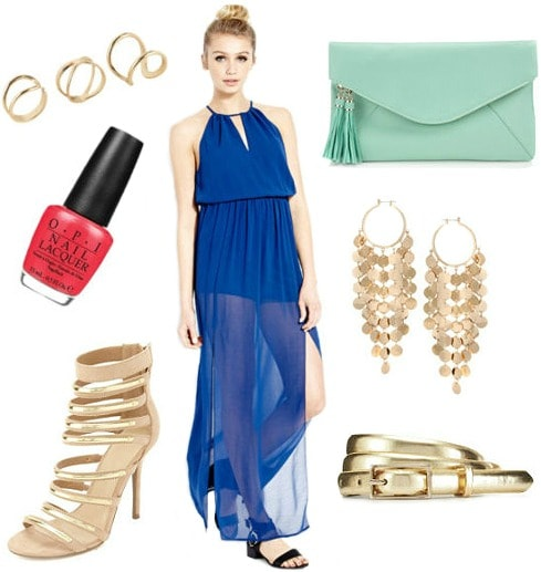 Opi brazil outfit blue maxi dress