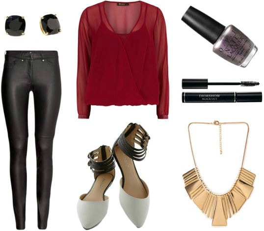 OPI Brazil outfit red blouse leather pants