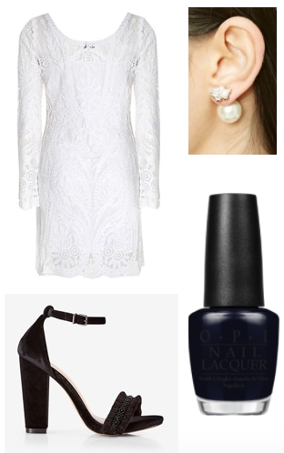 Outfit inspired by OPI's Breakfast at Tiffany's collection - white dress, black heels, earrings