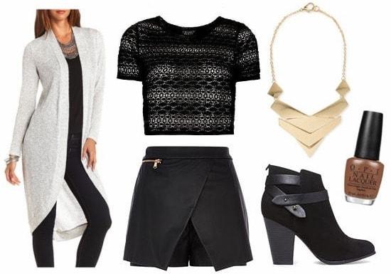 OPI Nordic leather skort black lace top look