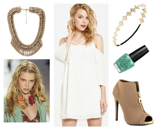Opi Nordic white dress gold beige booties look