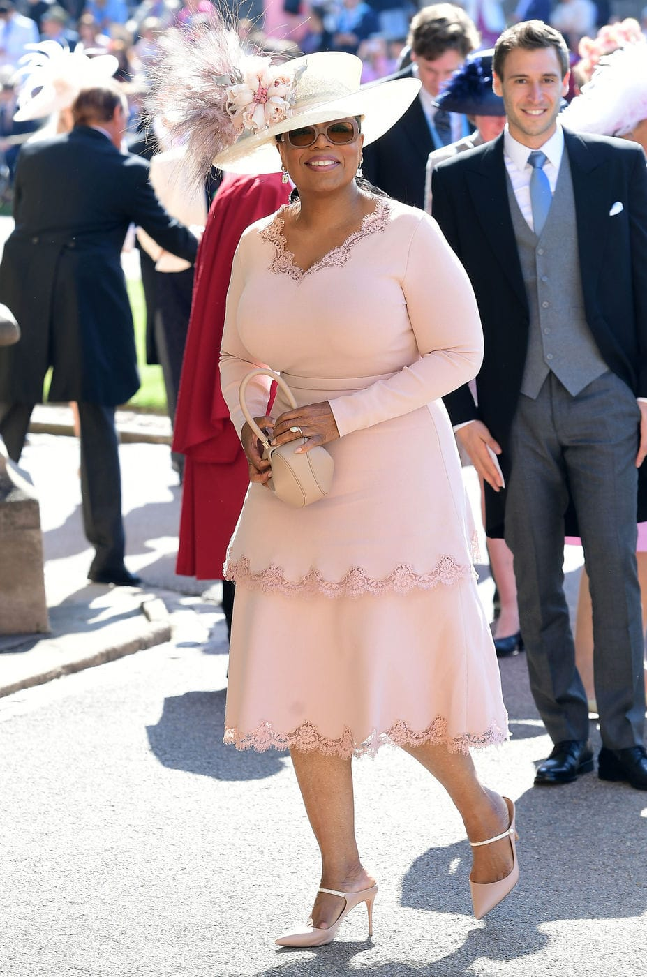 Oprah at the Royal Wedding in pink Stella McCartney
