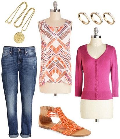 Orange blouse, magenta cardigan, jeans