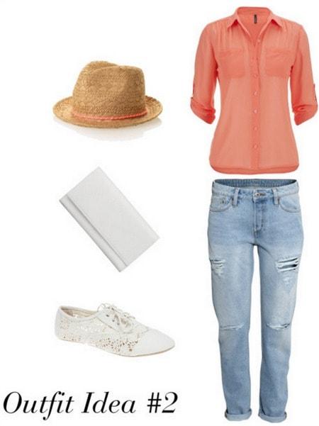 Audrey Hepburn outfit 2 - Blouse, boyfriend jeans, fedora, sneakers