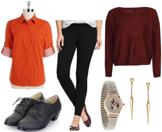 Orange button up, burgundy sweater, black pants