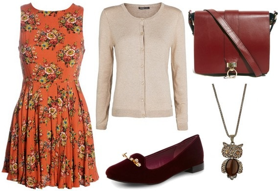 Orange dress, cardigan, burgundy bag